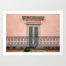 Old doors and balcony on a coral pink background in Italy Art Print