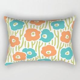 Mid Century Modern Wild Flowers Turquoise and Orange 391 Rectangular Pillow
