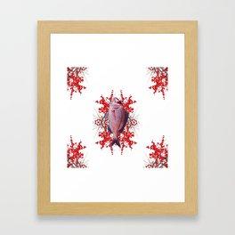 Red Berries Fish Framed Art Print