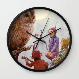 """""""A Carol for Brown Owl"""" by Margaret Tarrant Wall Clock"""