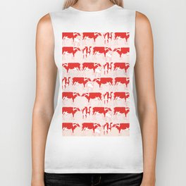 Pattern with retro red cows, retro pattern and colours Biker Tank