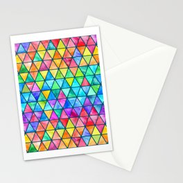 Little Rainbow Watercolor Triangles on Teal Stationery Cards