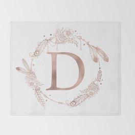 Letter D Rose Gold Pink Initial Monogram Throw Blanket