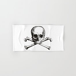 Skull and Crossbones   Jolly Roger   Pirate Flag   Black and White   Hand & Bath Towel