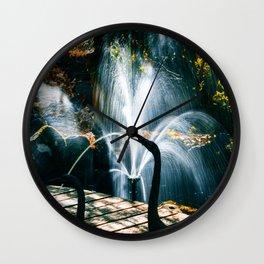 Fountain in a beautiful autumn garden Wall Clock