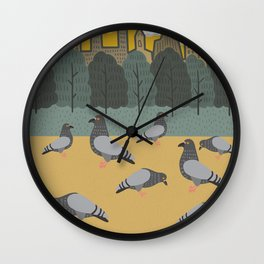 Pigeons Day Out Wall Clock