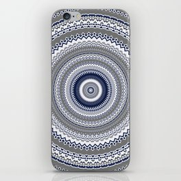 Navy Blue Grey Bohemian Mandala iPhone Skin