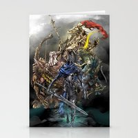 dark souls Stationery Cards featuring Dark Souls Knights of Gwyn by Donna A. / Karniz