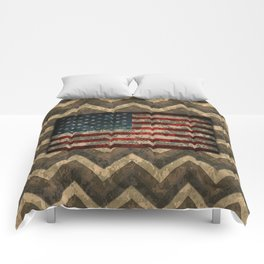 Brown Military Digital Camo Pattern with American Flag Comforters