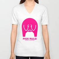 pigs V-neck T-shirts featuring Pigs Rule! by Cartoon Bowie