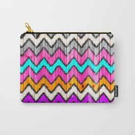 Andes Tribal Aztec Pink chevron Ikat wood pattern Carry-All Pouch