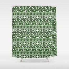 Dachshund fair isle christmas dog breed gifts for dog lover pet art cute holiday doxie dogs Shower Curtain