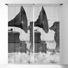 Chris the Dog and the Gramophone, Anarctic snow-covered polar black and white photography / photographs by Herbert Ponting Blackout Curtain