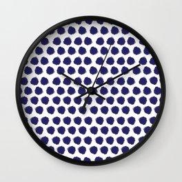 Navy Brush-Stroked Dots Wall Clock