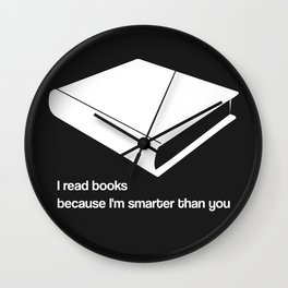 I read books white - funny graphic illustration Wall Clock
