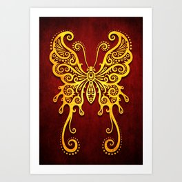 Intricate Red and Yellow Vintage Tribal Butterfly Art Print
