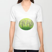 lavender V-neck T-shirts featuring Lavender by Tanja Riedel