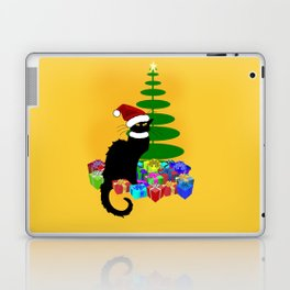Christmas Le Chat Noir With Santa Hat Laptop & iPad Skin