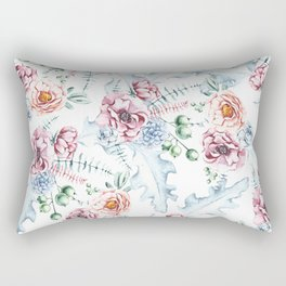 Hand painted pink blue watercolor modern floral Rectangular Pillow