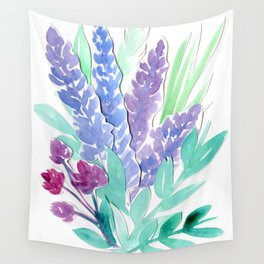 Lavender Floral Watercolor Bouquet Wall Tapestry