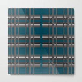 Striped turquoise and gray background 2 Metal Print