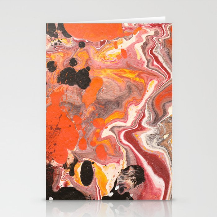 Maroon Orange Black And White Fluid Acrylic Abstract Painting Stationery Cards By Hollycromer