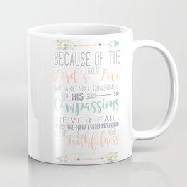 Handwritten Pastels Lamentations 3:22-23 Bible Verse Coffee Mug