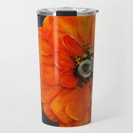 Orange Bumble Bee Flower Photography Travel Mug