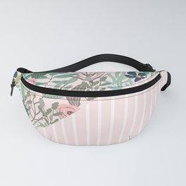 floral and stripe- pink/green Fanny Pack