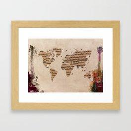 music world map Framed Art Print