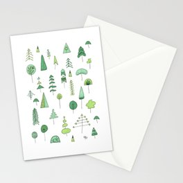 Green Trees Stationery Cards
