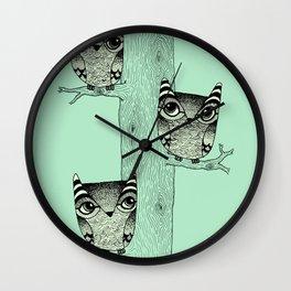 Owls (green) Wall Clock