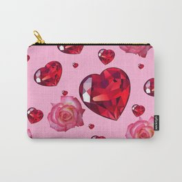 PINK  ART RAINING ROSES RUBY RED VALENTINES HEARTS Carry-All Pouch