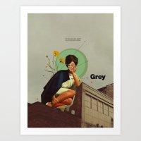 grey Art Prints featuring Grey by Frank Moth