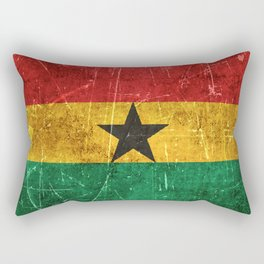 Vintage Aged and Scratched Ghana Flag Rectangular Pillow
