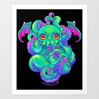 cthulhu Art Prints featuring Cthulhu by Gunkiss