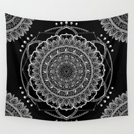 Black and White Geometric Mandala Wall Tapestry