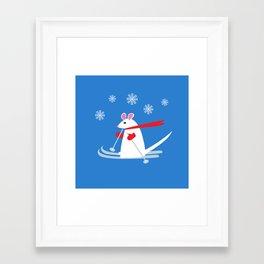 Christmas Mouse on Skis Framed Art Print