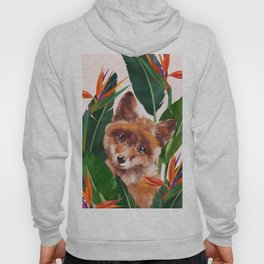 Baby Fox in Bird of Paradise Flowers Hoody