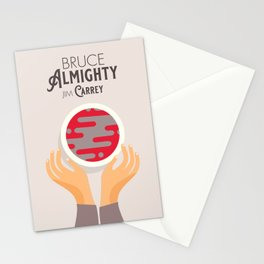 Bruce Almighty, alternative movie poster, Jim Carrey film, Morgan Freeman, Jennifer Aniston, Carell Stationery Cards