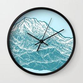 Distant Snow- 遠雪 : linocut Wall Clock