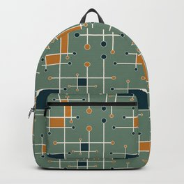 Intersecting Lines in Olive, Blue-green and Orange Backpack
