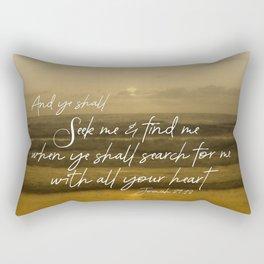 Ocean Sunrise: Seek Him with your whole Heart Scripture Rectangular Pillow