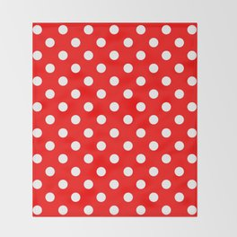 Polka Dots (White & Classic Red Pattern) Throw Blanket