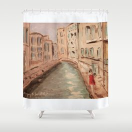 Venice Girl in Red Shower Curtain