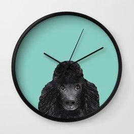 Toy Poodle black poodle pet portrait custom dog art dog breeds by pet friendly Wall Clock
