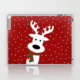 Reindeer in a snowy day (red) Laptop & iPad Skin
