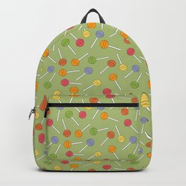 Happy Lollipops Sugar Candy Green Background Backpack