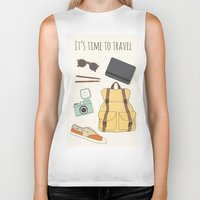 backpack Biker Tanks featuring It's Time to Travel by Helga Wigandt
