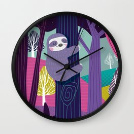 Sloth in the woods Wall Clock